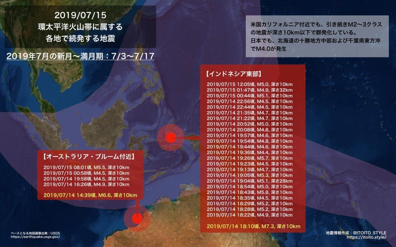 【海外】環太平洋火山帯に属する各地で続発する地震(2019/07/15)